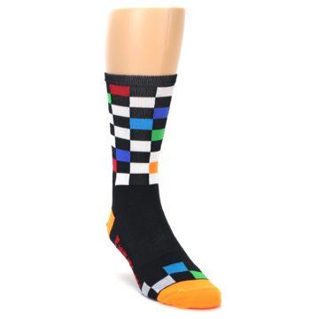 Image of Black White Multi Checker Men's Crew Athletic Socks (side-1-front-02)