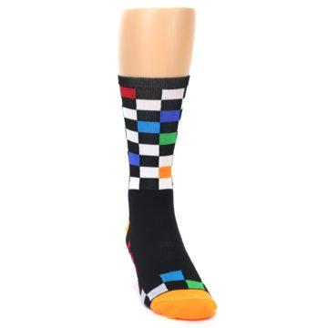 Image of Black White Multi Checker Men's Crew Athletic Socks (side-1-front-03)