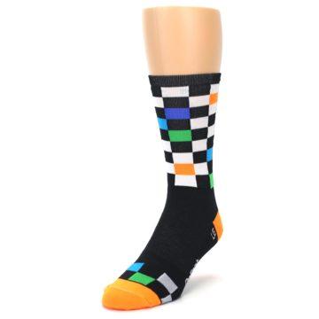 Image of Black White Multi Checker Men's Crew Athletic Socks (side-2-front-07)