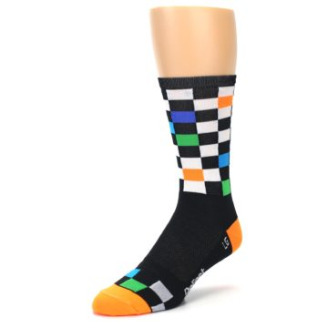 Image of Black White Multi Checker Men's Crew Athletic Socks (side-2-front-08)