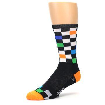 Image of Black White Multi Checker Men's Crew Athletic Socks (side-2-09)
