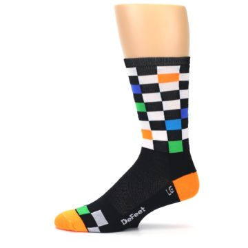Image of Black White Multi Checker Men's Crew Athletic Socks (side-2-11)