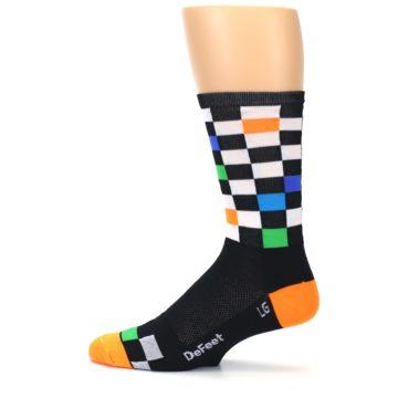 Image of Black White Multi Checker Men's Crew Athletic Socks (side-2-12)