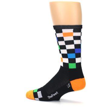 Image of Black White Multi Checker Men's Crew Athletic Socks (side-2-13)