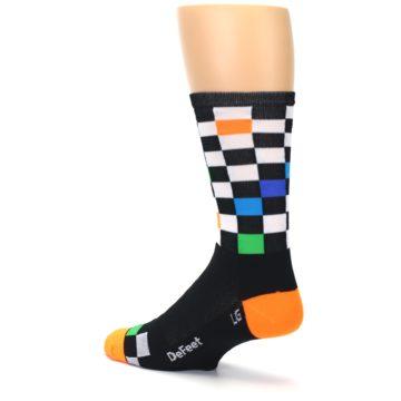Image of Black White Multi Checker Men's Crew Athletic Socks (side-2-back-14)