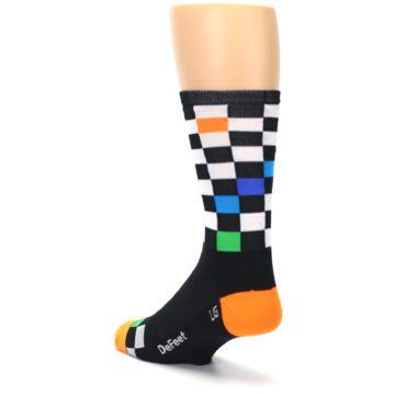 Image of Black White Multi Checker Men's Crew Athletic Socks (side-2-back-15)