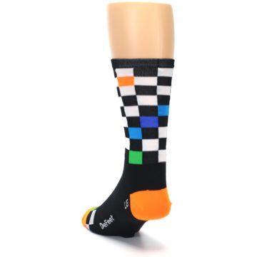 Image of Black White Multi Checker Men's Crew Athletic Socks (side-2-back-16)
