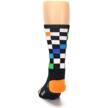 Image of Black White Multi Checker Men's Crew Athletic Socks (back-17)
