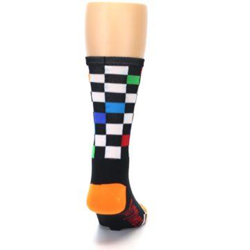 Image of Black White Multi Checker Men's Crew Athletic Socks (back-19)