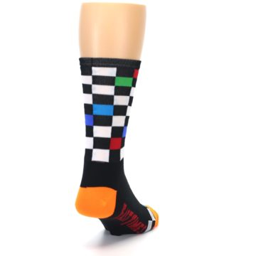 Image of Black White Multi Checker Men's Crew Athletic Socks (side-1-back-20)