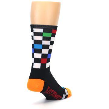 Image of Black White Multi Checker Men's Crew Athletic Socks (side-1-back-21)