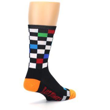 Image of Black White Multi Checker Men's Crew Athletic Socks (side-1-back-22)