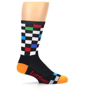 Image of Black White Multi Checker Men's Crew Athletic Socks (side-1-24)