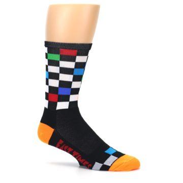 Image of Black White Multi Checker Men's Crew Athletic Socks (side-1-25)