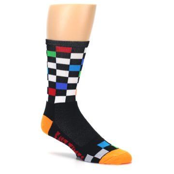 Image of Black White Multi Checker Men's Crew Athletic Socks (side-1-26)