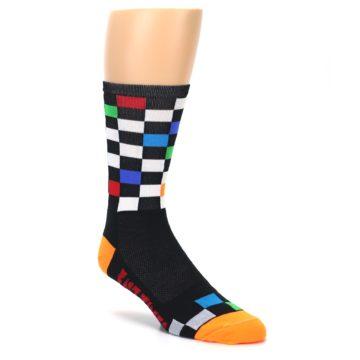 Image of Black White Multi Checker Men's Crew Athletic Socks (side-1-27)