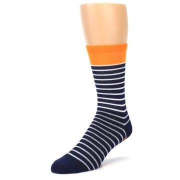 Image of Navy White Orange Sailor Stripe Men's Crew Athletic Socks (side-2-front-08)