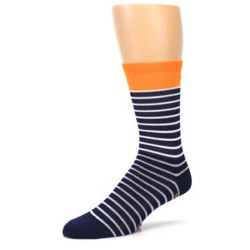 Image of Navy White Orange Sailor Stripe Men's Crew Athletic Socks (side-2-09)