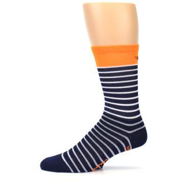 Image of Navy White Orange Sailor Stripe Men's Crew Athletic Socks (side-2-11)