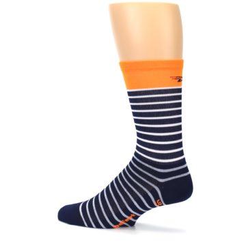 Image of Navy White Orange Sailor Stripe Men's Crew Athletic Socks (side-2-13)