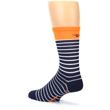 Image of Navy White Orange Sailor Stripe Men's Crew Athletic Socks (side-2-back-14)