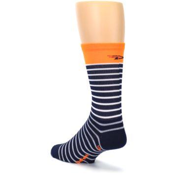 Image of Navy White Orange Sailor Stripe Men's Crew Athletic Socks (side-2-back-15)