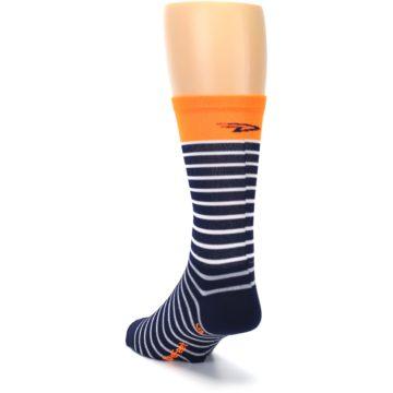 Image of Navy White Orange Sailor Stripe Men's Crew Athletic Socks (side-2-back-16)