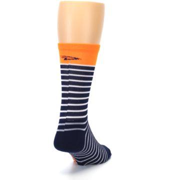 Image of Navy White Orange Sailor Stripe Men's Crew Athletic Socks (side-1-back-20)