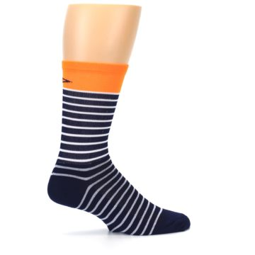 Image of Navy White Orange Sailor Stripe Men's Crew Athletic Socks (side-1-24)