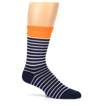 Image of Navy White Orange Sailor Stripe Men's Crew Athletic Socks (side-1-25)