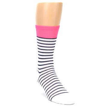 Image of White Navy Pink Sailor Stripe Men's Crew Athletic Socks (side-1-front-02)
