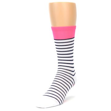 Image of White Navy Pink Sailor Stripe Men's Crew Athletic Socks (side-2-front-07)
