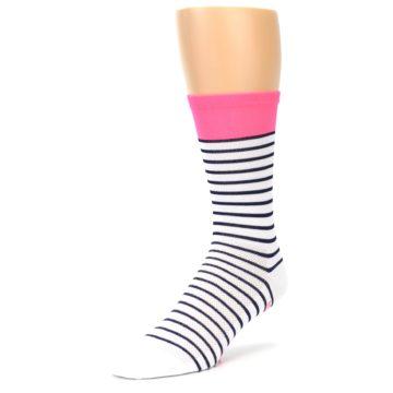 Image of White Navy Pink Sailor Stripe Men's Crew Athletic Socks (side-2-front-08)