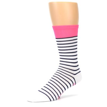 Image of White Navy Pink Sailor Stripe Men's Crew Athletic Socks (side-2-09)