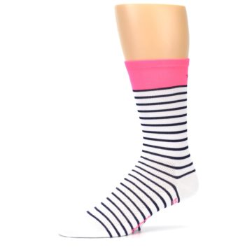 Image of White Navy Pink Sailor Stripe Men's Crew Athletic Socks (side-2-10)