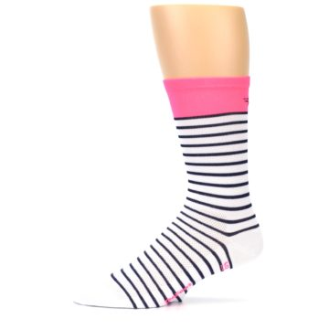 Image of White Navy Pink Sailor Stripe Men's Crew Athletic Socks (side-2-11)