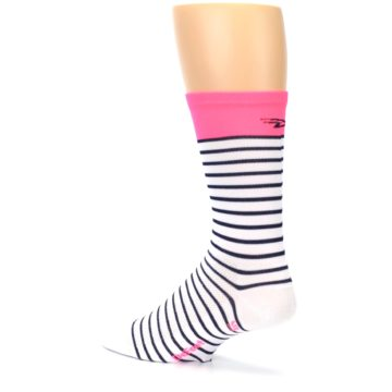 Image of White Navy Pink Sailor Stripe Men's Crew Athletic Socks (side-2-back-14)