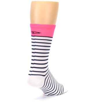 Image of White Navy Pink Sailor Stripe Men's Crew Athletic Socks (side-1-back-21)
