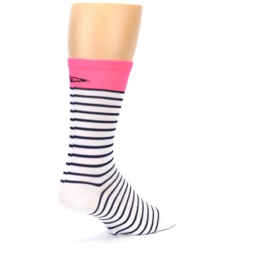 Image of White Navy Pink Sailor Stripe Men's Crew Athletic Socks (side-1-back-22)