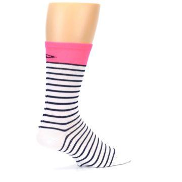 Image of White Navy Pink Sailor Stripe Men's Crew Athletic Socks (side-1-23)