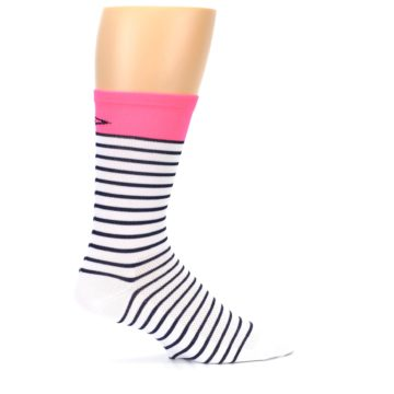 Image of White Navy Pink Sailor Stripe Men's Crew Athletic Socks (side-1-24)