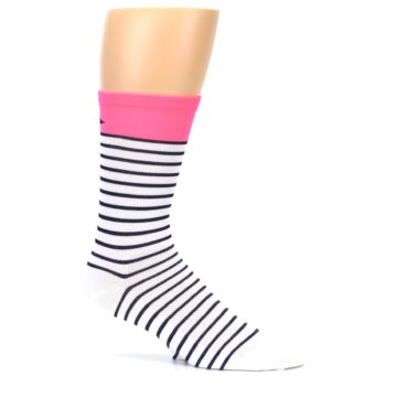Image of White Navy Pink Sailor Stripe Men's Crew Athletic Socks (side-1-25)