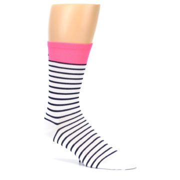 Image of White Navy Pink Sailor Stripe Men's Crew Athletic Socks (side-1-26)