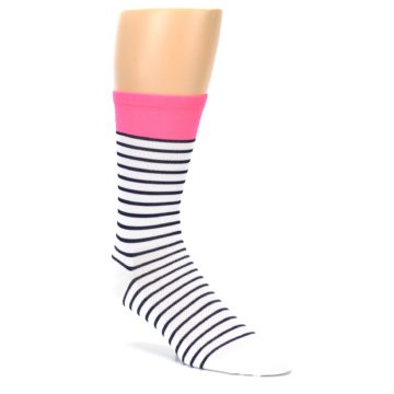 Image of White Navy Pink Sailor Stripe Men's Crew Athletic Socks (side-1-27)
