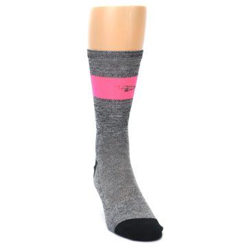Image of Gray Pink Stripe Men's Crew Athletic Socks (side-1-front-03)