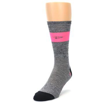Image of Gray Pink Stripe Men's Crew Athletic Socks (side-2-front-07)