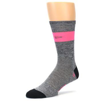 Image of Gray Pink Stripe Men's Crew Athletic Socks (side-2-09)