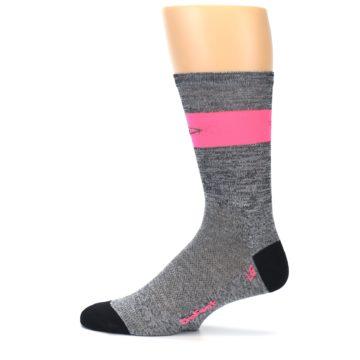 Image of Gray Pink Stripe Men's Crew Athletic Socks (side-2-12)