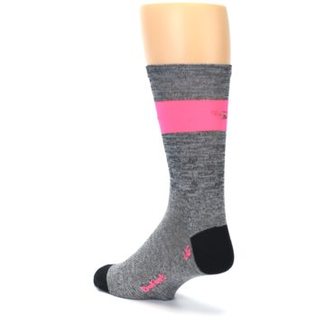 Image of Gray Pink Stripe Men's Crew Athletic Socks (side-2-back-15)