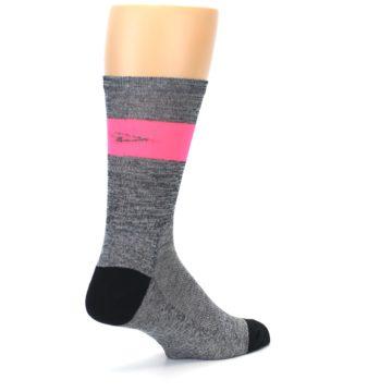 Image of Gray Pink Stripe Men's Crew Athletic Socks (side-1-back-22)
